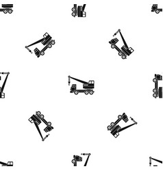 Truck crane pattern seamless black vector