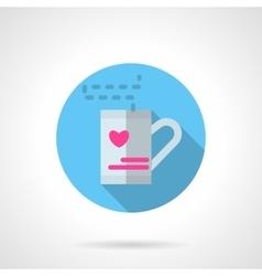 Valentines tea round flat icon vector