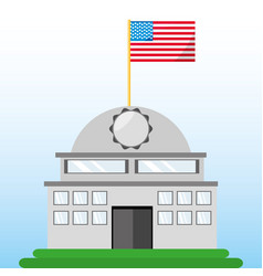 White house with american flag symbol vector