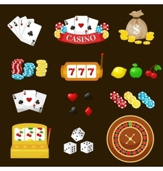 Gambling pictograms set deck of cards and casino vector