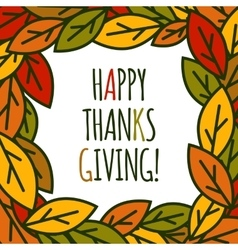 Thanksgiving day leaves frame vector
