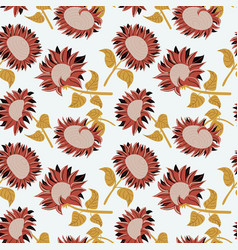 decorative beauty sunflowers seamless pattern vector image
