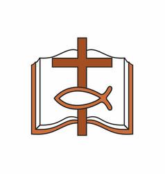 bible cross and christian fish vector image