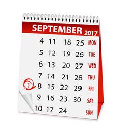 icon calendar for september 1 2017 vector image