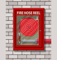 Water hose to extinguish the fire in cabinet vector
