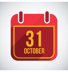 Calendar 31 october flat calendar icon with long vector
