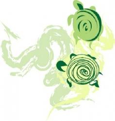 green turtles vector image