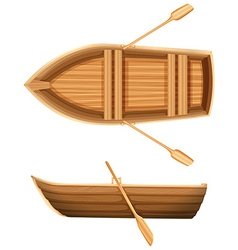 A top and side view of a boat vector