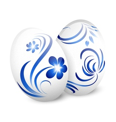 Easter White Gzhel Eggs vector image