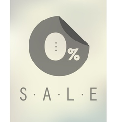 Sale discount zero percent button on blurred vector