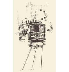 Street with tram vintage engraved vector