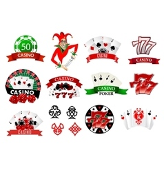 Colored casino and poker icons vector