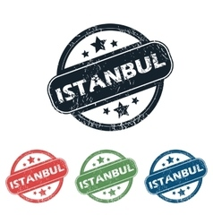 Round istanbul city stamp set vector