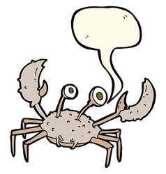 Cartoon crab with speech bubble vector