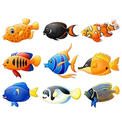 fish cartoon set vector image