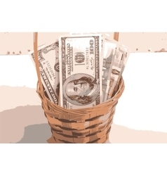 european money on wooden basket vector image