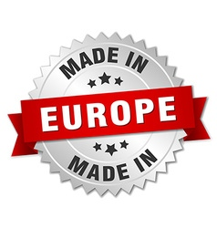 Made in europe silver badge with red ribbon vector