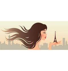 Girl and the eiffel tower vector