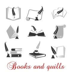 Manuscript books with quills and ink vector image