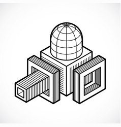 abstract isometric dimensional shape vector image vector image