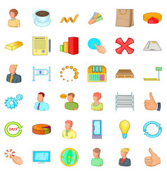 big corporation icons set cartoon style vector image