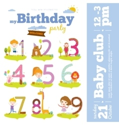 Birthday anniversary numbers with cute animals and vector image