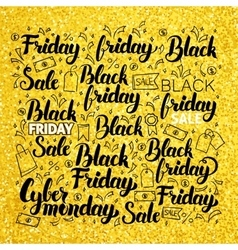 Black friday gold lettering vector