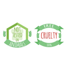Cryelty free and not tested on animals labels or vector image