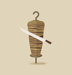 Doner kebab with knife old background vector