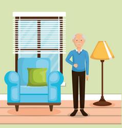 Family member in the living room vector