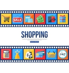Film strips and set of sale and shopping icons for vector image vector image