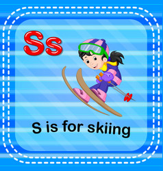 Flashcard letter s is for skiing vector