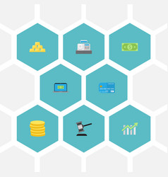 Flat icons verdict ingot computer and other vector
