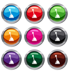 Gear stick set 9 collection vector