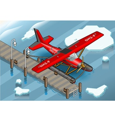 Isometric artic hydroplane at pier vector