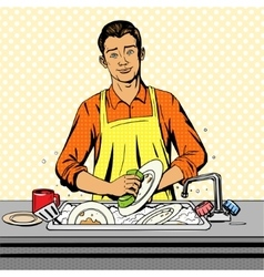 Man washes dishes pop art style vector image