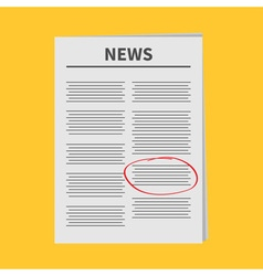 Newspaper icon Red pen skrible mark Flat design vector image
