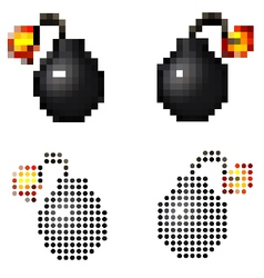 pixel vintage cartoon style pirate bomb on white vector image