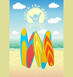 Poster design with surf boards vector