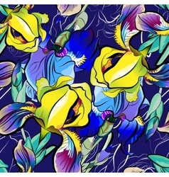Seamless pattern of blue irises yellow vector