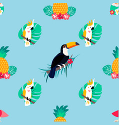 Seamless pattern with parrots pineapple toucan vector
