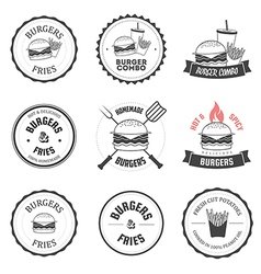 Set of burger and fries restaurant design elements vector image vector image