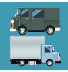Set truck delivery cargo mail vector