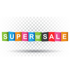 Super sale tag discount message flat on isolated vector
