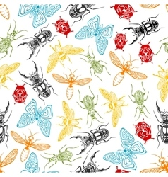 Tribal insects seamless pattern background vector image vector image