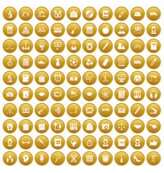 100 hi-school icons set gold vector