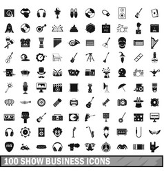 100 show business icons set simple style vector