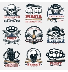 Mafia fight emblems in color vector