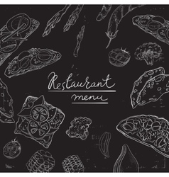 Collection of hand-drawn food on blackboard vector