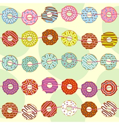 Seamless pattern with garland of donuts vector